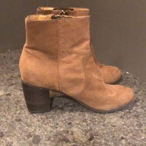 Tan sueded booties